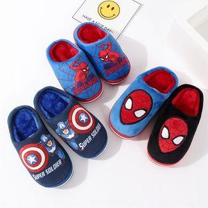 children's shoes Iron Man Children's shoes winter indoor Spider Man Plush Slippers anti-slip soft bottom home slippers