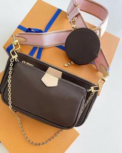 2020 أعلى جودة حقائب اليد MULTI POCHETTE ACCESSORIES حقيبة الكتف زهرة القرنفل CROSSBODY حقيبة محفظة المحافظ الجلدية حقيقية 3 قطع