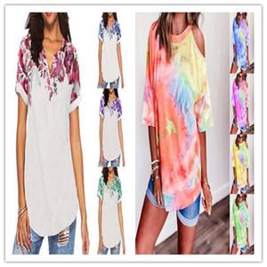 Diseño del tinte del lazo para mujer camisetas O verano Cuello sin tirantes Camisetas de manga corta más el tamaño de las mujeres ocasionales flojas camisetas Clothig