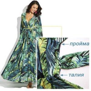 Мода длинным рукавом платье Green Tropical Beach Vintage Maxi платья Boho V шеи ремень Узелок мундир драпированные Плюс размер платья