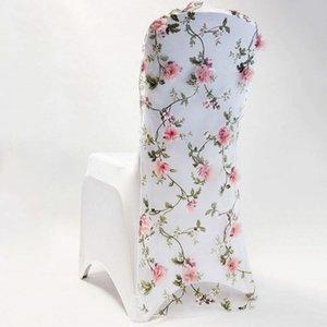 capot de chaise de mariage Marious 3D brodé de fleurs en organza ouvrants chaise mariage Vantaux de couverture de capot froissée