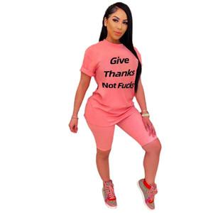 Письмо Повседневный Летние женские костюмы славить НЕ Слим Solid Color High Street Fashion Designer женщин 2PCS Плюс Размер одежды