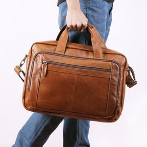 Men's Briefcase Business Hand Bag 15.6-inch Leather Computer Bag Cowhide Messenger Men Laptop Maletines Hombre 15