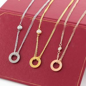 LOVER Cercle Collier avec pendentif diamant CZ Couleur Argent Or Rose Collier pour femmes Vintage collier bijoux fantaisie avec coffret d'origine