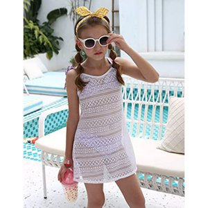 Swimsuit Cover Up For Girls Little Kids Girl's Beach Crochet Mesh Crossback Swim Cover Up Dress 3-8Years Y200708