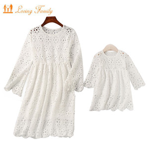 Family Matching Outfits 2020 Summer Clothes Mommy And Me Clothing Lace Mother Daughter Dresses Family Look Half Sleeve Dress