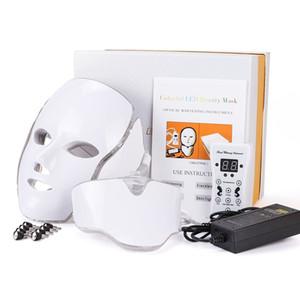 نمط جديد 7 لون LED قناع للوجه الرقبة EMS الجزئي الحالي لمكافحة التجاعيد حب الشباب إزالة تجديد الجلد آلة كهربائية تجميل الوجه