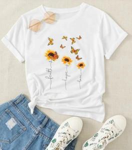 Çiçek Kelebek Tee Faith Hope Aşk Kelebek tişört Güzel Sevimli Kadın Yuvarlak Yaka Kadın Tişört S-3XL yazdırın
