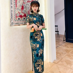 New Arrival Summer Print Traditional Chinese Wedding Party Dresses Qipao Women Long Cheongsam Satin Silk Dresses