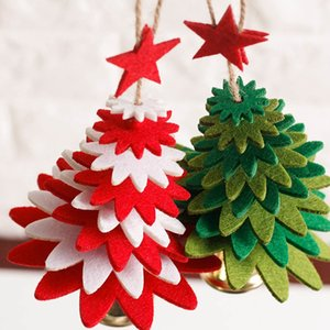 1pc Wind Chimes Christmas Tree Shape Non-woven Christmas Tree Pendant DIY Decorations Door Hanging Articles