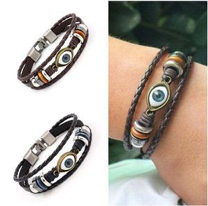 DHL epacket ship Blue Eyes Leather Bracelet Punk Vintage Leather Bracelet DJFB405 Charm Bracelets jewelry