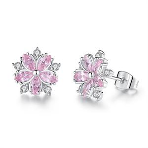 Women's Creative Simple Earrings Pink Cross Cubic Diamond Sakura Flower Stud Earrings Wedding Gifts Fashion Jewelry