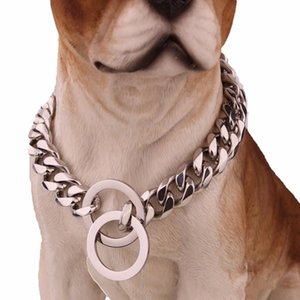 15mm 316l Stainless Steel Rose Gold Plated Cuban Dog Pet Chain Collar Tone Double Curb Cuban Rombo Link Pet Jewelry Epacket Free