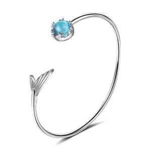 Cola de pescado pulsera del estudiante femenino de la sirena Lágrima artificial pulsera azul de cristal mano damas brazaletes Zxb174