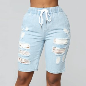 Women Middle-Waisted Washed Ripped Hole Knee Length Jeans Denim Summer Shorts Feminino Hole Ripped Denim Jeans Elastic Waist