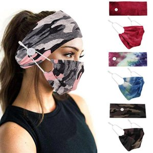 Lo nuevo camuflaje banda para el cabello Máscara botón Set cuerda de seguridad a prueba de polvo anti-niebla respirable antitranspirante Moda Deportes diadema máscaras 9 colores DHL