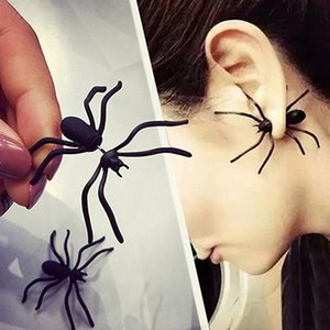 Punk Earring Black Spider Ear Stud Funny Style Weird Design Earring Decoration Jewelry Accessories for Party RRA1979