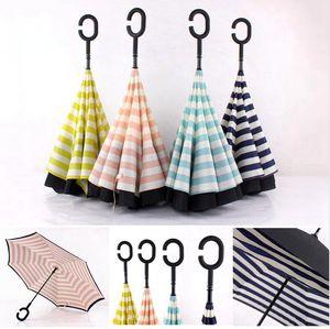C Type Sun Protection Parapluies Portable Double couche pongé et rayures parapluie droit poignée longue extérieure parapluies DDA144