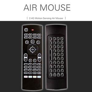 6 축 백라이트 키보드를 학습 MX3 플라이 에어 마우스는 2.4GHz 무선 안드로이드 TV 박스 키보드 X8 공기 마우스 원격 3D 감각 IR