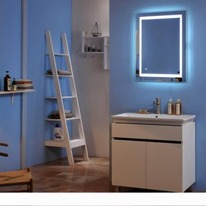 """32""""x 24"""" Mirrors Indoor Bathroom LED Mirror Light 32""""x 32"""" Square Built-in Light Strip Touch LED Bathroom Mirror Silver"""