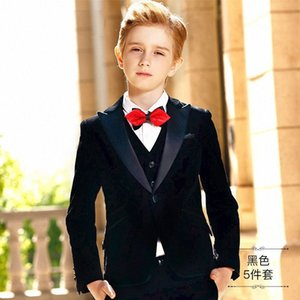 High quality 2020 children's boys dress suit small suit flower girl hosted costumes suits velvet handsome RojB#