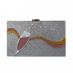 New Fashion Accessory Women Bag Acrylic Cartoon Patchwork Dinner Handbag Woman Wedding Evening Bag Trendy Party Box Clutch Purse