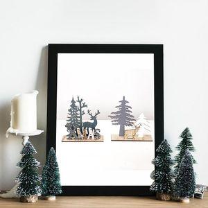 Elk Xmas Tree Pendants Wooden Christmas Ornaments Party DIY Decor Home Garden Decorative Supplies Christmas Decoration Pendant 38zp#