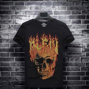 Luxury Mens Designer Flame Skull Medusa Summer T Shirt Hot Rhinestone Printing Designer T Shirt Hip Hop Fashion Men Women Short Sleeve Tee