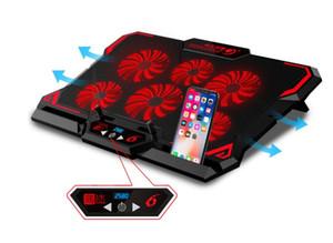 2020 NOUVEAU pas cher 17inch Gaming Laptop Cooler Six Fan écran LED Deux Port USB 2600RPM Laptop Cooling Pad Notebook Stand pour ordinateur portable
