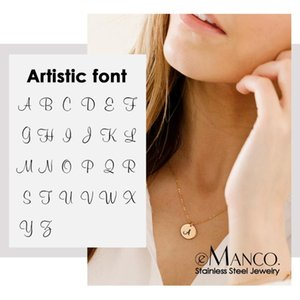 e-Manco Female Artistic Alphabet Pendant Necklace for women Real 316L Stainless Steel Necklace women Fashion Jewelry
