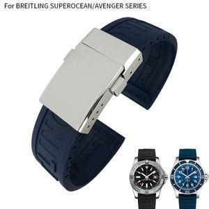 22mm Kauçuk Silikon Watch Band İçin Breitling Avenger Serisi Siyah Mavi Sarı Su geçirmez Dalış Kayış Paslanmaz Çelik Toka erkekler