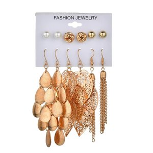 6Pairs Set Bohemian Gold Metal Pearl Round Ball Leaf Drop Earrings for Women Beach Party Jewelry Gift