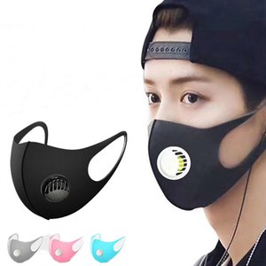 Lavable réutilisable Valve masque respiratoire visage glace bouche couverture anti-poussière PM2,5 respirateurs antibactériennes Masques Soie Coton Adulte Enfant DHL