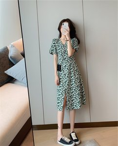 Green Hepburn floral dress women's summer 2020 new waist slim temperament tea long skirt break dress long skirt