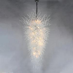 LED 크리스탈 유리 체인 펜던트는 화이트 불어 유리 샹들리에 조명 60 인치 계단 거실 Droplight 서스펜션 램프-L 램프