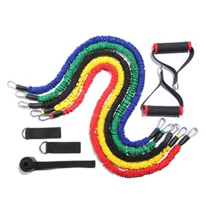 11 Piece Set Fitness Resistance Bands Pulling Rope Workout Equipment Home Anti-Break Fitness Elastic Band for Sports