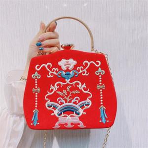 ABER 2020 bolsos de embrague noche bordado estilo chino de la novia del monedero del banquete de boda de la vendimia carteras bolsas de la cadena del hombro MN1552
