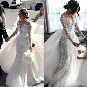 Newest Castle Mermaid Wedding Dresses With Detachable Train Jewel Sheer Neck Appliqued Lace Bridal Gowns Custom Made Robes De Mariée Sirène