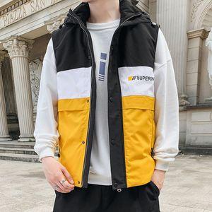 BROWON Hombre Marca 2020 del chaleco de la chaqueta de los hombres nuevos de invierno sin mangas chaqueta caliente de manera masculino chaleco más el tamaño M-4XL