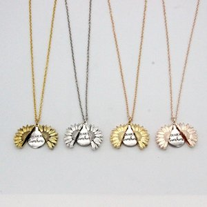 Подсолнечное ожерелье Валентайн подарка Золотой Медальон можно открыть кулон Вы My Sunshine Гравировка ключицы цепи для женщин A03