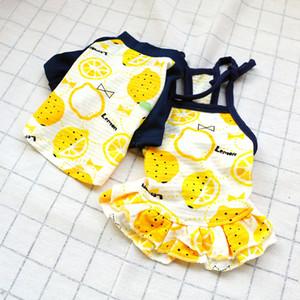 노란색 레몬 개 의류 티셔츠 동물 의류 커플 드레스 연인 애완 동물 스커트 작업복 애완 동물 공급 15jq C2를 착용 작은 개를 산책