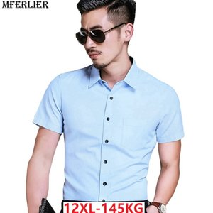 MFERLIER men summer shirts cotton formal short sleeve dress shirts 8XL 9XL 10XL 11XL 12XL plus size big 7XL twill blue white red