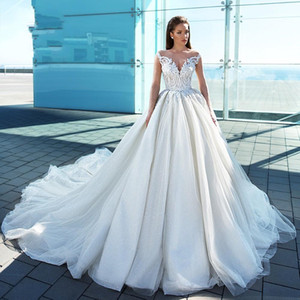 2020 New Glamorous Long Sleeve Princess Wedding Dresses Swanskirt Appliques Ball Gown Sweetheart Bridal Gown Vestido de noiva