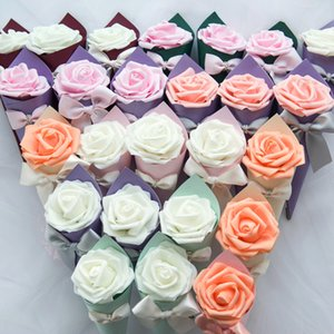Candy Box Birthday Baby Shower Gift Boxes Sugar Case Party Supplies Wedding Favors Candy Bag With Artificial Flower Ribbon