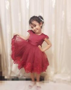 Moda Burgonya Kısa Kollu Çay Boyu Bebek Küçük Kızlar Yarışması Elbiseler bir çizgi Tül Dantelli Prom Akşam Partisi Çiçek Kız Dresse Zip
