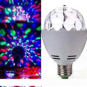 Lampadina Edison2011 nuovo 3W E27 B22 RGB Full Color LED Crystal Stage luce auto rotante effetto di fase del DJ della lampada Mini luce della fase