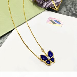 U High Quality Fashion Lady Jewelry Sets Brass Lapis Lazuli Diamond Between Two Butterfly 18k Gold Necklaces Bracelets Earrings Rings S