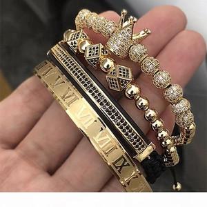 Hot Sale Classical Handmade Braiding Bracelet Gold Hip Hop Men Pave Cz Zircon Crown Roman Numeral Bracelet Luxury Jewelry MX190726