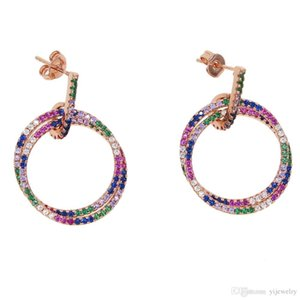 geometric rainbow cz circle floating hollow round circle charm dangle earring rose gold color trendy fashion women ear wire