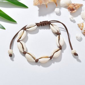 VSCO Girl Shell Bracelets Bohemian Handmade Seashell Adjustable Braided Rope Bangles Women Hand Knit Beaded Bracelet Beach Jewelry